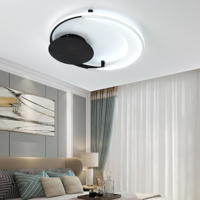 Circle Ring Flush Ceiling Light Modern Simple Led Metal Flushmount Light with Black Canopy, 12