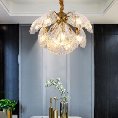 Clear Glass Shell Chandelier Modernism 13/15 Bulbs 23.5