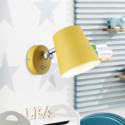Conical Wall Sconce Light Macaron Metallic 1 Light Pink/Yellow/Blue Wall Light Fixture for Balcony, 5