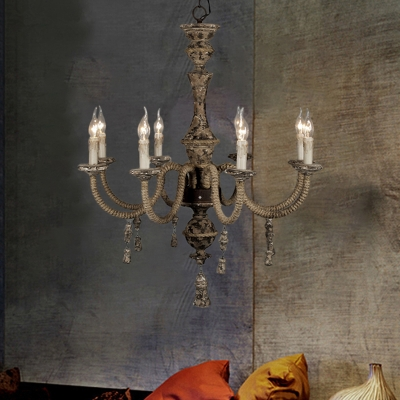 Distressed Pendant Lighting 8 Lights Solid Wood Rustic Chandelier Lighting for Dining Room
