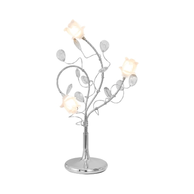 Frosted Glass Rose Table Lighting French Country 3-Light Standing Light in Gold/Silver with Crystal Prisms