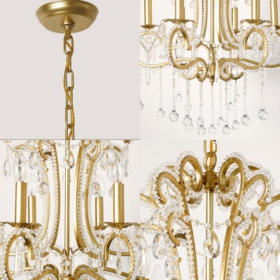 Gold Candle Ceiling Pendant Light with Clear K9 Crystal 6 Lights Modern Suspension Light