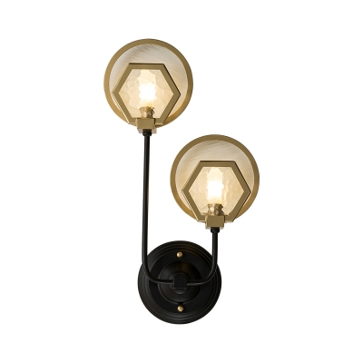 Gold Ring and Hexagon Wall Light 1/2-Light Modern Crystal Metal Wall Lamp for Stair Bathroom