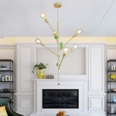 Gold/Rose Gold Branch Suspension Lamp Mid Century Modern Metal 3/6 Lights Hanging Pendant Light