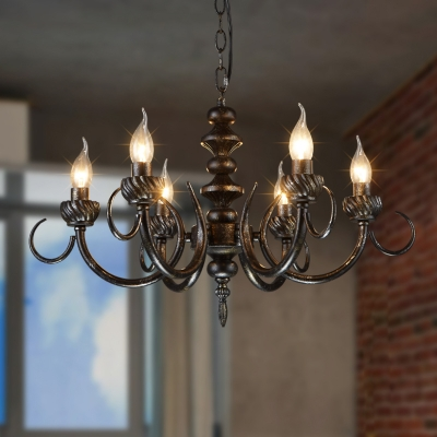 Iron Candle Hanging Chandelier Antique Style 6 Lights Restaurant Pendant Lamp in Black with 39