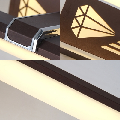 Loft Linear Vanity Light with Acrylic Diffuser Metal 1 Light Led Brown Bathroom Wall Mount Light in Warm/White Light, 16.5/23 Inch Width