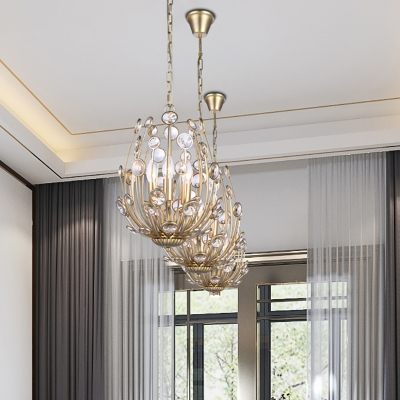 Metal and Crystal Chandelier Lighting Mid Century Modern Champagne Gold Hanging Light