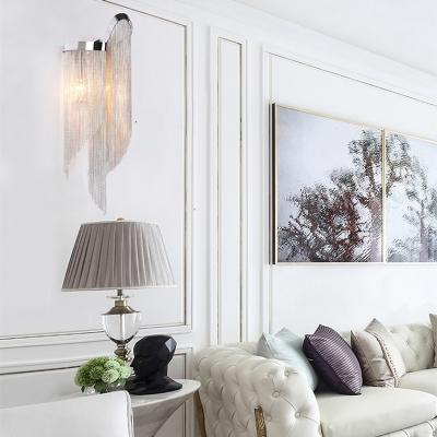 Metal Tassel Wall Light 2 Lights Postmodern Sconce Light in Gold/Silver for Living Room Kitchen