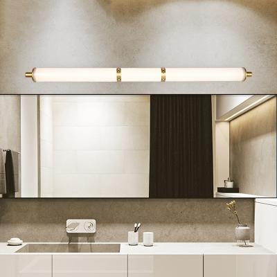 Minimalist Cylindrical Wall Mounted Light Acrylic Shade Led 1 Light Vanity Mirror Light in Gold, 18