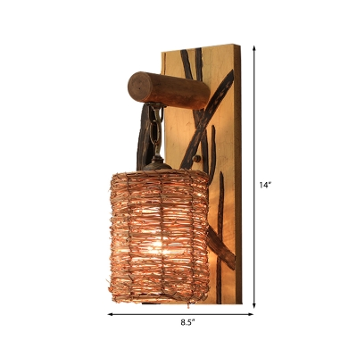 Rattan Cone/Cylinder Wall Mount Light Tropical Style 1 Light Wall Sconce Light with Wooden Backplate