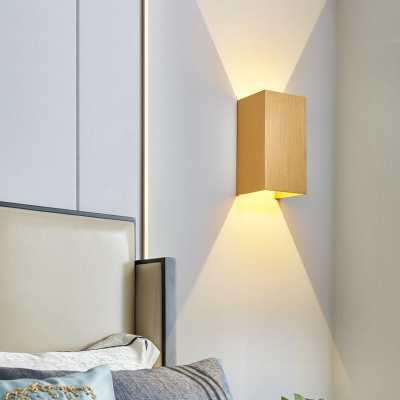 Rectangle Wall Mounted Lighting Contemporary 2-Led Wall Light with Black/Coffee/Grey/Gold/White Metal Shade