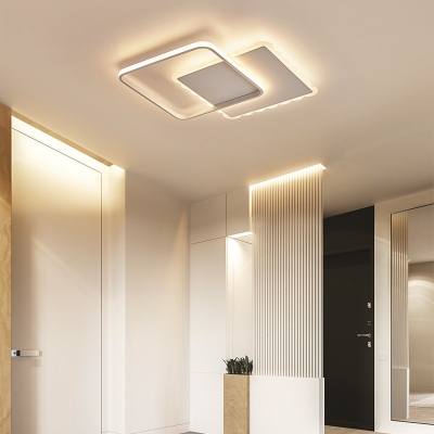 Round/Square LED Flush Mount Ceiling Light Modern Acrylic Overlapping Ceiling Lights in White Bronze