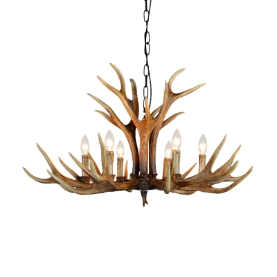 Village Candle Hanging Chandelier with Resin Antlers Height Adjustable 6/8/10 Heads Pendant Lighting Fixture in Brown