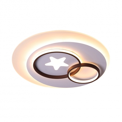 White Circles Flush Mount Lighting with Star Contemporary Led Indoor Flush Lamp in Warm/White, 16.5