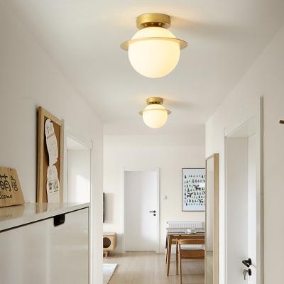 White Glass Globe Ceiling Light Fixture Nordic 1 Bulb Flush Mount Lighting in Gold Finish