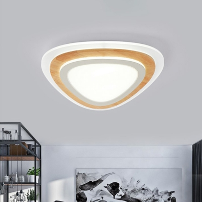 White Triangle Flush Mount Fixture Contemporary Acrylic LED Integrated Flushmount Ceiling Lamp in Warm/White/Natural