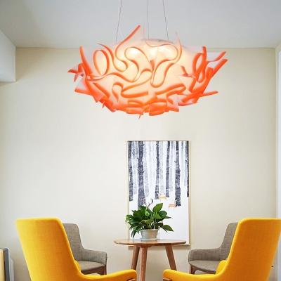 1 Light Cloud Pendant Lighting Modern Acrylic Blue/Orange/Purple/Pink Suspension Light in Third Gear