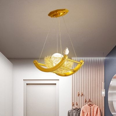 1 Light Oval Pendant Lamp with Brass Metal Nest Art Deco Ceiling Hanging Light, 9.5