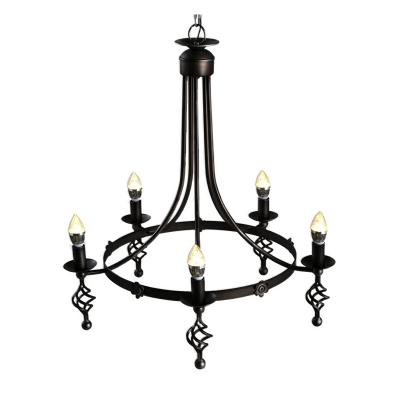 5 Lights Round Chandelier Lamp Traditional Metal Hanging Pendant Light in Black