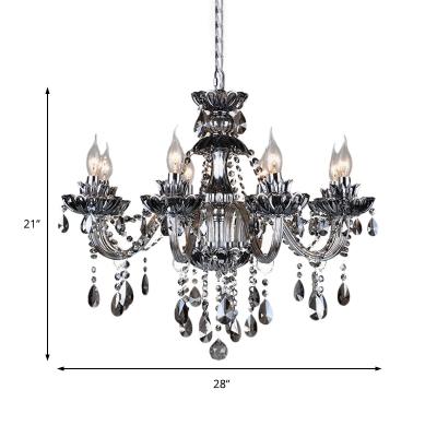 6/8 Lights Candle Chandelier Lighting Vintage Smoke Crystal Hanging Pendant Light in Chrome