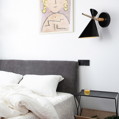 Angle Shade Wall Sconce Macaron Metal 1 Light Black/White/Pink/Yellow/Green Wall Sconce Light for Bedroom
