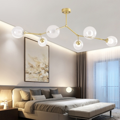 Black/Gold Branching Pendant Light with Clear/White Glass Shade 4/5/6 Lights Nordic Chandelier Lamp