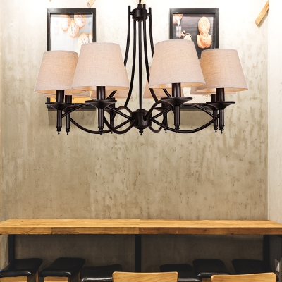 Country Style Cone Suspension Lamp Beige Fabric Shade 4/6/8 Heads Black Ceiling Chandelier with Hanging Chain