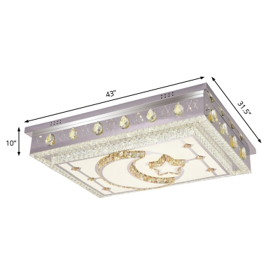 Crystal Rectangle Flush Mount Ceiling Fixture Modern Stainless Steel LED Flush Mount Lighting in Silver
