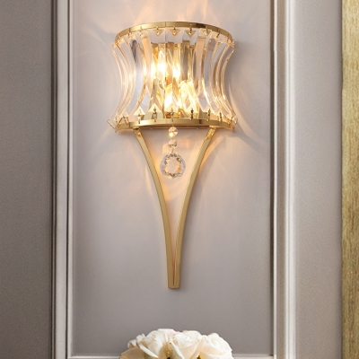Curved Drum Bedroom Wall Light Clear Crystal Metal Elegant Style Sconce Lamp in Gold