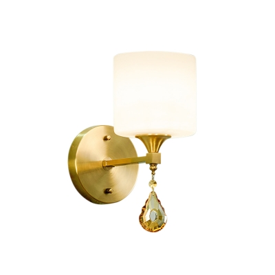 Cylinder Frosted Glass Wall Lamp Modernist 1/2-Light Sconce Light with Amber Crystal in Brass