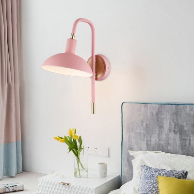 Dome Sconce Lighting with Metal Shade Macaron 1 Light Bedroom Wall Lighting in Blue/Green/Pink/Yellow