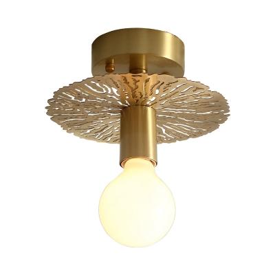 Exposed Bulb Semi Flush Mount Lighting 1 Light Vintage Mini Ceiling Flush Light in Brass Finish