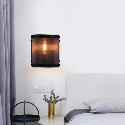 Half-Cylinder Wall Lamp Industrial Vintage Stainless Steel Cage 1 Light Wall Mounted Light Fixture in Black