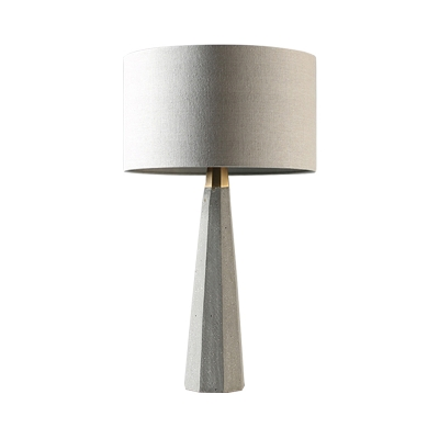 Loft Drum Table Lighting with Grey Cement Base 1 Light Fabric Table Lamp for Bedroom