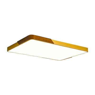 Metal and Wood Flush Mount Ceiling Light with Square/Rectangle Shade Led Gold Ceiling Light in Warm/White/Neutral, 16