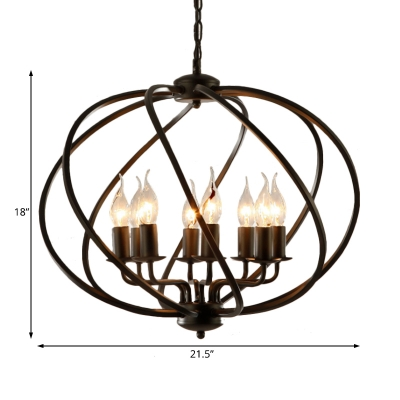 Metal Frame Globe Chandelier Lighting Industrial 8 Bulbs Ceiling Pendant in Black