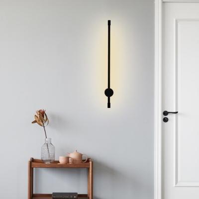 Minimalism Slim Wall Sconce Light Metal Led Black Wall Mount Light for Corridor