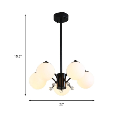 Modern Global Chandelier Lighting Opal Glass 3/5/9/12 Lights Indoor Pendant Light in Black