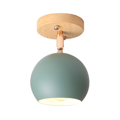 Nordic Black/Gray/White/Pink/Green Orbit Semi Flush Light Adjustable 1 Light Metal Ceiling Mount Light Fixture