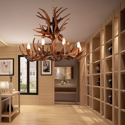 Resin Candle Hanging Light Fixture with Antlers Design Countryside 4/6/9/15 Heads Pendant Chandelier in Coffee