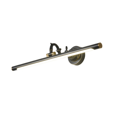 Rotatable Linear Vanity Mirror Light Metal Vintage Wall Mount Lighting in Antique Brass/Black, 14