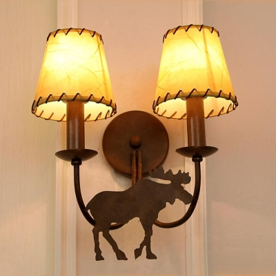 Vintage Loft Tapered Sconce Lamp Acrylic Shade Double Wall Sconce Light with Deer in Rust