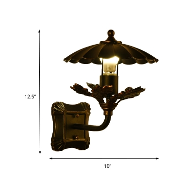 Vintage Open Bulb Wall Light Fixture with Leaf Decoration and Square Backplate 1 Light Iron Wall Sconce in Bronze