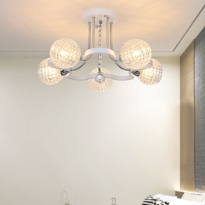 3/5 Lights Clear Glass Semi-Flush Mount Contemporary Flush Chandelier Lighting with Crystal in White