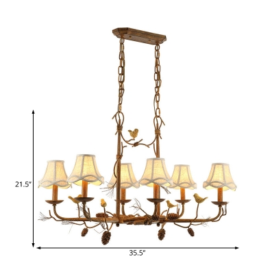 6 Lights Bell Shade Hanging Ceiling Light Country Style White Fabric Indoor Chandelier