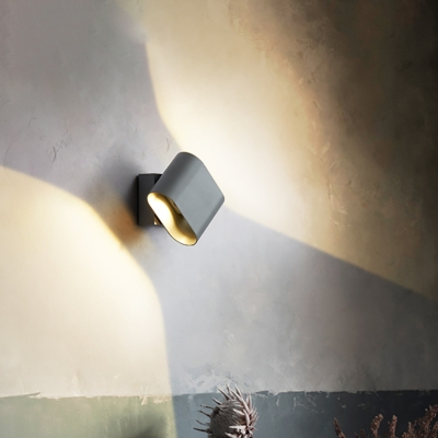 Black/Grey/White Mini Wall Lamp with Metal Shade Rotatable Modern Waterproof Outdoor Led Sconce Light in Warm