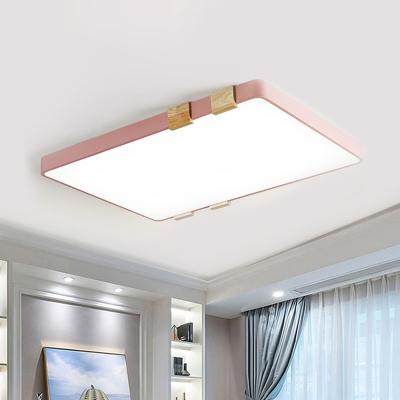 Blue/Green/Pink/Yellow Rectangle Flushmount Light Macaron Modern Integrated Led Flush Light in Warm/White