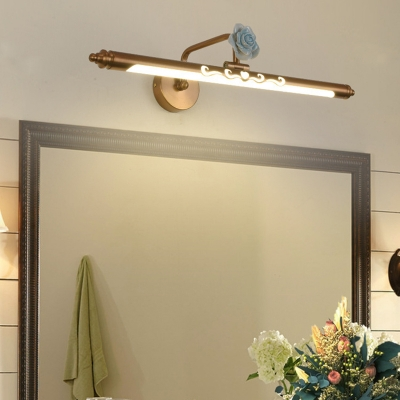 Brass Cylinder Vanity Light with Rose Accent Vintage Metal 1-LED 16