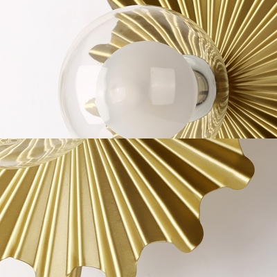 Brass Torch Wall Sconce Light 1 Light Metal and Clear Glass Mid Century Modern Wall Lamp