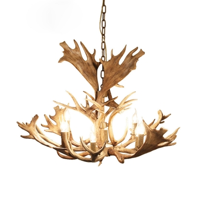 Brown Antlers Chandelier Pendant Light with Candle Village Resin 8 Bulbs Ceiling Chandelier